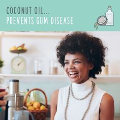 Oil pulling with coconut oil is a simple way to rid your mouth of bacteria and lessen the risk of tooth decay and gum disease. It can also whiten teeth, prevent bad breath, heal cracked lips, prevent cavities, heal bleeding gums, and strengthen your gums!  Just swish with 1-2tsp of raw coconut oil for 20 minutes. I know it seems a like a long time, but it's just long enough for plaque and bacteria to break down. Spit, rinse, and brush!