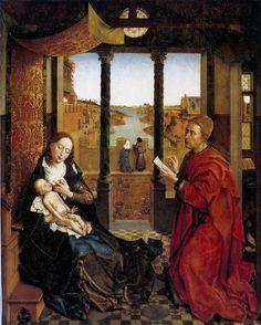 Rogier van der Weyden. San Lucas dibujando a la Virgen, 1435-40, Museo de Bellas Artes de Boston. - Pintura Flamenca.
