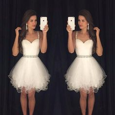 2016 Short White Homecoming Dresses Spaghetti Straps Beaded Crystals Ruffles Graduation Party Dress Modest Prom Dresses