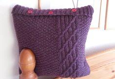 Mixed knit pattern purple cushion