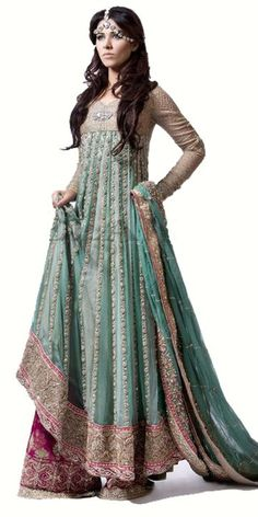 Elan by Khadija Shah Latest Pakistani Indian Bridal Wear Long  Shirt Sharara For Engagement/ Walima Reception WC 62