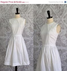 White Cotton 1950s Dress 1950s $54 by SassySisterVintage