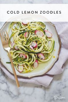 A light dressing and no actual cooking required make this an ideal substitute for pasta salad. Oh, and did we mention it comes together in only 25 minutes? Diet Dinner Recipes, Low Carb Vegetarian Recipes, Lunch Recipes, Zoodle Recipes, Pasta Recipes, Cooking Recipes, Cooking Food, Easy Cooking, Healthy Cooking
