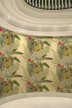 Dining room wallpaper. Build around bright yellow of bird, fish is/magenta flower, greens and purples Timorous Beasties Wallcoverings - Merian Palm dining room wallpaper amazing