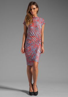 SEE BY CHLOE Short Sleeve Waist Knot Dress in Blue/Red at Revolve Clothing - Free Shipping!