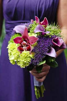 Purple Green Bridesmaid Bouquets