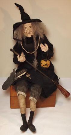 Handmade Primitive Sitting Witch By Kim Sweet~Kim's Klaus~Slender & Tall Halloween Temptress