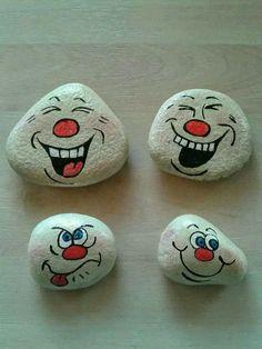 lustige Steingesichter