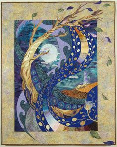 Moonswept by Nikki Hill quilt art at the 2017 Mid-Atlantic Quilt Festival Quilting Projects, Quilting Designs, Collage Kunst, Landscape Art Quilts, Landscapes, Art Chinois, Tree Quilt, Quilt Art, Cat Quilt