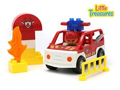 Town Fire Fighter Building Block 13 Pieces Duplo Compatible Toy Set for Preschooler Children Creative Playtime Fun >>> Details can be found by clicking on the image.
