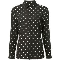 Saint Laurent polka dot print shirt ❤ liked on Polyvore featuring tops, polka dot top, polka dot shirts, spotted shirt, yves saint laurent and dot top