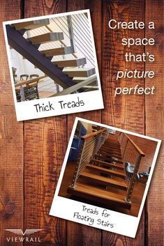 Viewrail Thick Treads are the superior option for any floating staircase. Every tread is crafted from the highest quality hardwoods––ranging from white & red oak, walnut, Brazilian cherry, and more––and can be finished in a variety of unique stains. They can even be distressed or hand-scraped to your preference! With Viewrail, you know that your treads will look stunning––and last a lifetime. #design #interiordesign #Viewrail #ViewrailFLIGHT #FloatingStairs #stairs #architecture #treads…