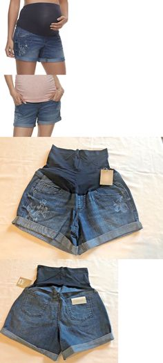7994d3ca44bb7 Maternity a glow Jean Shorts Size 12 with Inseam Cuffed Full Belly Panel