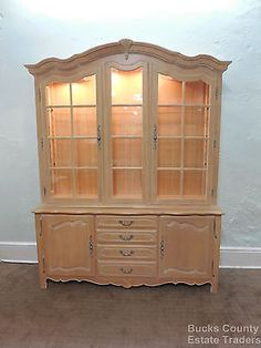 Ethan Allen Country French Lighted Breakfront Curio China Cabinet