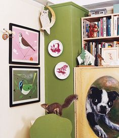 boston terrier painting from the apartment of Amy Sedaris! Amy Sedaris, Charley Harper, Little Corner, Gifts For Photographers, Eclectic Decor, Boston Terrier, Illustration Art, Gallery Wall, Diy Projects