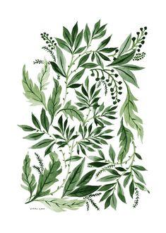 Green Leaves, an art print by Vikki Chu Art And Illustration, Botanical Illustration, Botanical Art, Pattern Illustration, Motif Floral, Arte Floral, Foto Poster, Print Poster, Green Leaves