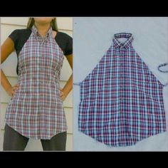 Recycled mens button up shirt into apron= awesome! I was just telling the hubby i needed an apron! Score!