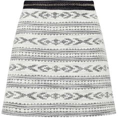 Miss Selfridge Aztec A Line Mini Skirt ($12) ❤ liked on Polyvore featuring skirts, mini skirts, bottoms, assorted, short a line skirt, embellished mini skirt, white skirt, miss selfridge and short white skirt