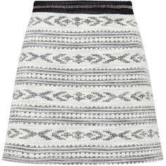 Miss Selfridge Aztec A Line Mini Skirt ($12) ❤ liked on Polyvore featuring skirts, mini skirts, bottoms, assorted, short a line skirt, embellished mini skirt, white skirt, miss selfridge and short white skirt