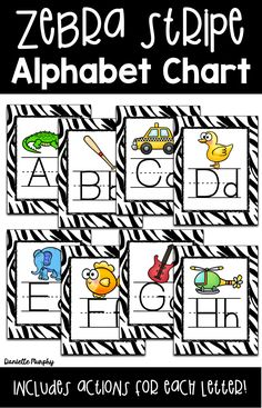 Get your classroom ready for back to school with these zebra stripe alphabet posters! Includes abc chart and kinesthetic motions for each letter! Perfect for any elementary or animal/jungle theme classroom! Jungle Theme Classroom, Classroom Themes, Alphabet Charts, Alphabet Posters, Teaching Phonics, Teaching Activities, Educational Activities, Zebra Print Decorations, Learning Websites For Kids