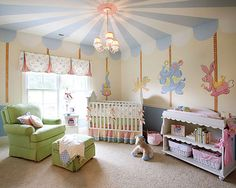 Circus nursery using painted details. Colors are so pretty for girl or boy!