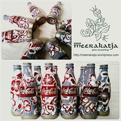 Indonesian Batik Collection, painted on Coca Cola Bottles. By Meerakatja glass art painting 2016.