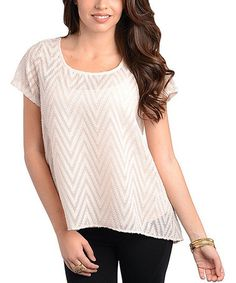 Take a look at this Cream Zigzag Top by Buy in America on #zulily today!