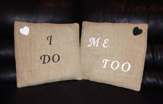 Adorable rustic wedding idea, imagine having these pillows on the chairs at the reception for bride and groom? I do Me Too Rustic Burlap Pillow Cover Set