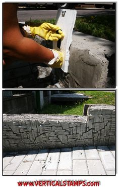 Another Fence driveaway renovation with vertical stamped concrete :) www.verticalstamps.com   |imprints| Easy and Cheap Do It Yourself Updating and Renovating Your House – Home Decor Tips and Tricks, Remodeling and Decorating Hacks  Easy and Cheap | DIY Home Improvement house foundation On A Budget - |stempel beton Heimwerker | FB:https://www.facebook.com/VerticalStamps