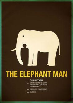 AMY: This is a poster of a movie, which using constrained visual language. In the first sign, it is a outline of an elephant, but then it is also a figure of a man 'hiding' between the nose of the elephant. The combination of the man and the elephant is clever, which communicate with the title of the movie 'The elephant man'.