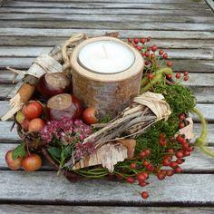 Jesenné plody vo venčeku so sviečkou