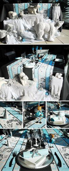 Décoration de table de Noël bleu et blanche #noël #christmas Tous les détails ici: http://www.artsephemeres.com/decotable/fr/149-table-de-noel-bleu-et-blanche