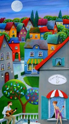 Paintings and illustrations by Iwona Lifsches. Art presentation and sale of original paintings and other art products. Mosaic Projects, Am Meer, Naive Art, Whimsical Art, Fabric Painting, Mosaic Art, Art And Architecture, Watercolor Art, Photo Art