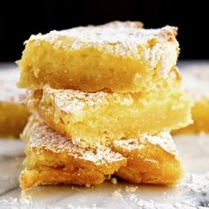 Luscious Lemon Squares ~ buttery shortbread-like crust with a sweet and lightly tart filling.
