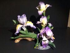 Vintage Purple Iris set of 3 Andrea By Sadek Porcelain Figurine