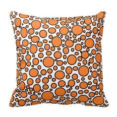 Orange and Black Polka Dots Pillow