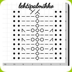 Inspiraation aalto on ollut valtava viime aikoina jostakin syystä ja näin ollen syntyi seuraavakin kuvio :) Lanka 7 veljestä Puik... Knitting Stiches, Knitting Charts, Lace Knitting, Knitting Socks, Crochet Stitches, Knitted Hats, Knitting Patterns, Knit Crochet, Hat Patterns