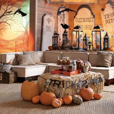 Ohh... I'm going to grab my outdoor lanterns and fill them with a skeleton with a crow on top!  Awesome decorating idea for Halloween