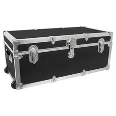 Mercury Modern   Footlocker Storage Trunk With Wheels   Black