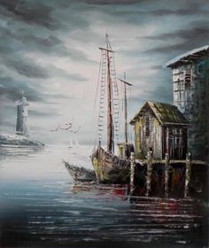 The call of seabirds, the moan of the weather buoy, and the salty smell of the sea can almost be sensed as this seascape wall art takes you to the docks. Sailboats are heading into port, and encroachi