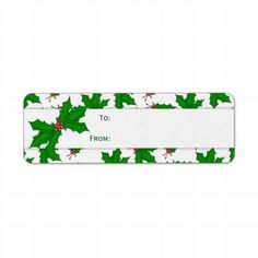 Holly Christmas Gift Stickers Return Address Label by HolidayFun Holly Christmas, Christmas Greetings, Christmas Gifts, Return Address Labels, Printables, Stickers, Xmas Gifts, Return Address Stickers, Christmas Presents