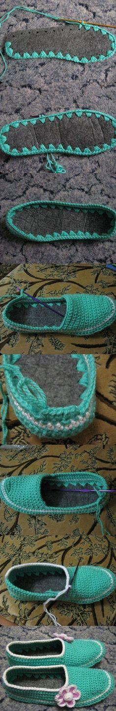 Ayakkabı tabanı olan keçelerden örgü ev ayakkabısı fikri oldukça ilginç olduğu kadar çok kullanışlı bir fikir. İsterseniz kalın keçe kumaşından ayak ölçünüze göre örebileceğiniz gibi, yada gidip ça…