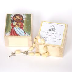 Sacred Heart of Jesus Christ Saviour wood jewelry rosary box print 1st first holy communion baptism favor favour gift keepsake heirloom  souvenir keepsake ornament decoration girls boy child gift christening baptism birthday birth gift 1st communion gift Catholic Christian personalized favor custom favour favor party favour favor Our Lord God immaculate heart red jewellery box