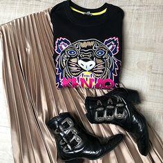 Sweat-shirt Kenzo Tiger, jupemidi plissée beige Zara, boots The Kooples Sweat Shirt, Zara Boots, The Kooples, Lookbook, Summer Outfits, Spring Summer, Beige, Pants