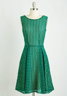 Fair and Town Square Dress - Mid-length, Green, Solid, Work, A-line, Sleeveless, Woven, Better