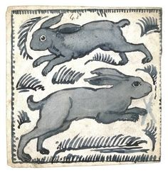 Two rabbits tile design by William De Morgan, a key figure of the Arts and Crafts movement, particularly well known for his work in ceramic decoration. From his studio at the Orange House in Chelsea he designed and produced a bewildering array of ceramic tiles decorated with foliage, animals and birds in the style of William Morris. These two rabbits appear to be chasing each other around the tile