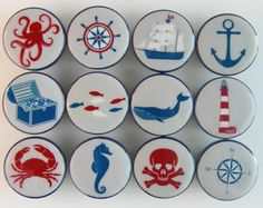 Handmade nautical themed drawer knobs in blue and gray. This set of nautical knobs includes two ships, a whale, anchor, a compass rose, light house, crab, seahorse, octopus, seashells, and ships wheel. These are beautiful white ceramic knobs with extra durable hard resin tops.    You may order the set of 12 as shown or order them individually. Please list your design choices in the Note to leilasloft box at checkout.   ▄▄▄▄▄▄▄▄▄▄▄▄▄▄▄▄▄▄▄▄▄▄▄▄▄▄▄▄▄▄▄▄▄▄▄▄▄▄▄▄▄▄ MADE-TO-ORDER- CURRENT…