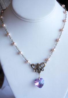 Princess Zelda Victorian Antique Gold Crystal Heart, $32.00