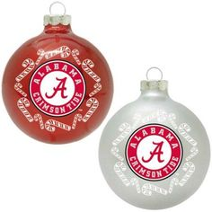 Topperscot Ncaa Alabama Crimson Tide Home and Away Glass Ornament Set, Set of 2, Multicolor
