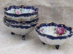 antique hand-painted Nippon porcelain nut dishes, small fluted bowls